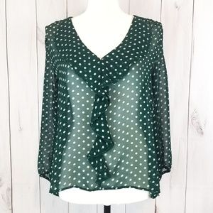 Zara Basic Green Polka Dot Chiffon Blouse